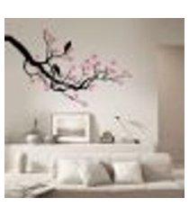 adesivo de parede floral galho e pássaros - p 50x82cm