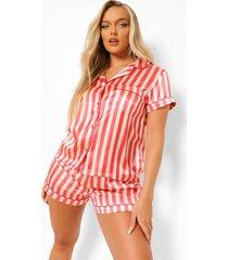 gestreepte satijnen pyjama set met shorts, nude