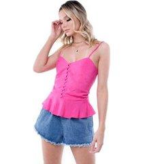 blusa alça botões pop me feminina