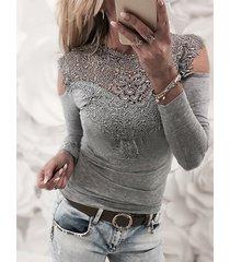 camiseta sexy de manga larga con hombros descubiertos y encaje gris