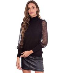 blusa myah de tule preto gola alta em tricã´ - preto - feminino - dafiti