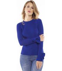 blusa  tricô lurex babado punho pop me azul