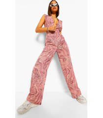 marmerprint wide leg jumpsuit met laag decolleté, pink