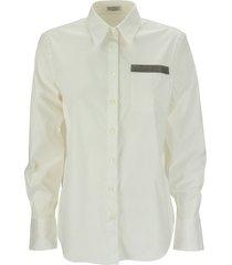 brunello cucinelli stretch cotton poplin shirt with precious patch