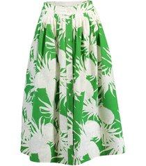 cotton printed placket front midi skirt
