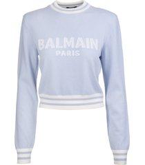 balmain woman light blue short pullover with logo