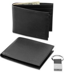 calvin klein leather bookfold wallet and key fob set