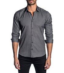vertical stripe cotton sport shirt