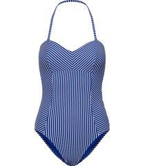c/d bandeau maillot baddräkt badkläder blå seafolly