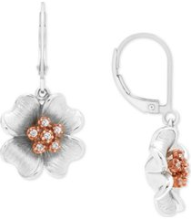 diamond flower drop earrings (1/10 ct. t.w.) in sterling silver & pink rhodium