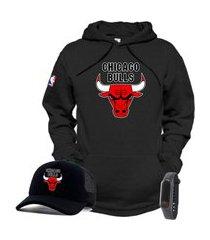 moletom canguru e boné preto time de basquete chicago bulls com relógio