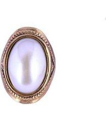 anel armazem rr bijoux perola oval - feminino
