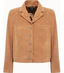 a.p.c. giacca veste nico in pelle scamosciata