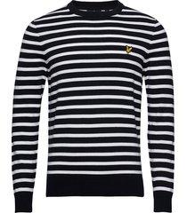 breton stripe jumper stickad tröja m. rund krage blå lyle & scott