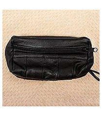 leather wristlet, 'on track in black' (mexico)