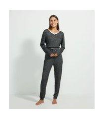 pijama longo em tricô com detalhe em renda | lov | cinza | gg