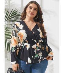 estampado floral con cuello en v y talla grande cinturón diseño abrigo diseño blusa de manga larga