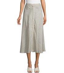 chevron-print cotton blend skirt