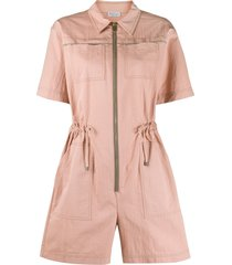 brunello cucinelli zipped front drawstring playsuit - pink
