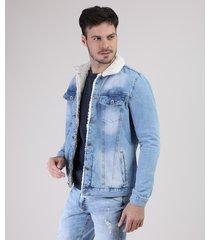 jaqueta jeans masculina com pelo azul claro