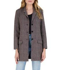 women's bb dakota plaid as i wanna be long blazer, size small - brown