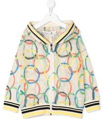 noé & zoë olympic rings zipped hoodie - neutrals