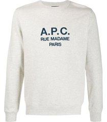 a.p.c. embroidered logo sweatshirt - neutrals