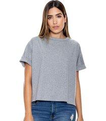 camiseta cuello redondo unicolor oversize color blue
