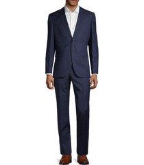 boss hugo boss men's jeckson/lenon2 regular fit windowpane virgin wool suit - navy - size 38 s