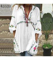 zanzea plus s-5xl de las mujeres de la manga de la linterna de la impresión floral del mini vestido de camisa larga remata la blusa -blanco
