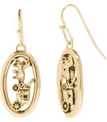 horse and carriage oval earrings