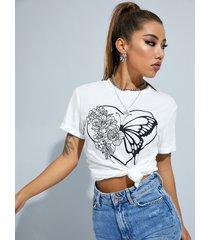 camiseta de manga corta con cuello redondo y estampado de mariposas yoins