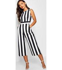petite monochrome high neck striped jumpsuit, black