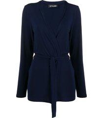 styland belted lightweight cardigan - blue