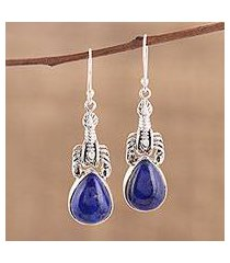 lapis lazuli dangle earrings, 'scorpion hill' (india)