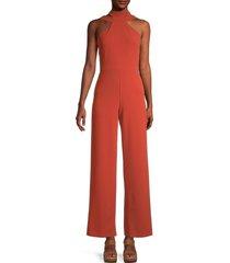 bebe women's choker-neck jumpsuit - rust - size 10