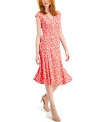 anne klein julie leaf-printed sleeveless midi dress