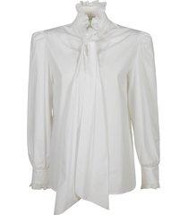 alberta ferretti ruffled collar bow applique shirt