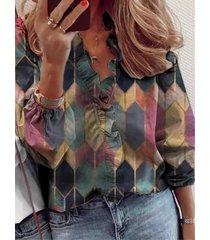 camicetta casual manica lunga patchwork stampa arruffata da donna
