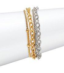 18k white gold & stainless steel multi-layered bracelet