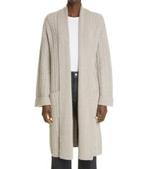 women's arch4 moscow cable stitch cashmere open cardigan, size x-small - grey