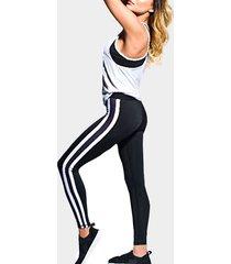 jogging casual ajustado con cintura elástica a rayas pantalones en negro