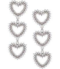 glass pearl crystal & silvertone heart earrings