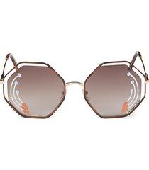 chloé women's havana 58mm hexagon sunglasses - havana