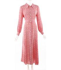 rixo rixo maddison autumn leaf print red maxi shirt dress red/white/floral print sz: m