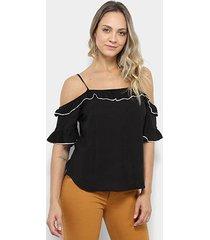 blusa royallove open shoulder babado feminina