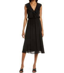 charles henry ruffle surplice midi dress, size xx-large in black at nordstrom