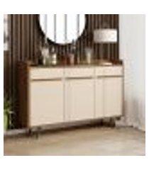 aparador buffet retrô quartzo - cinamomo / off white - móveis bechara