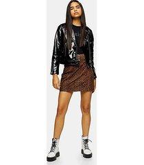 leopard print leather mini skirt - true leopard