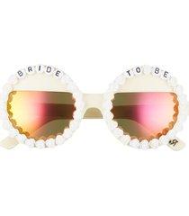women's rad + refined bride to be round sunglasses - white/ orange mirrored